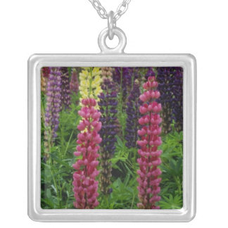 Red Lupins flowers Necklace