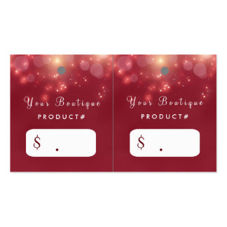 Red Luxe Bokeh Sparkle Elegant Boutique Hang Tags Business Card