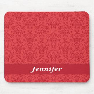 Red luxury damask custom girls name mousepad