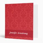 Red luxury, elegant damask custom binder, folder 3 ring binder