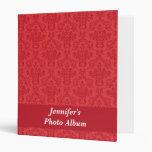 Red luxury, elegant damask custom photo album vinyl binders