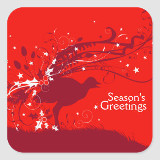 Red Lyrebird square christmas stickers