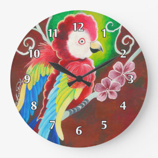 Red Macaw Large Clock
