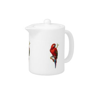Red Macaw Parrot Bird Teapot