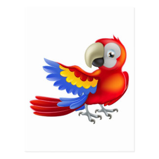 Red macaw parrot illustration postcard
