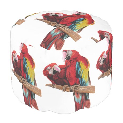 Red Macaw Parrot Parrots Watercolor Pouffe Pouf