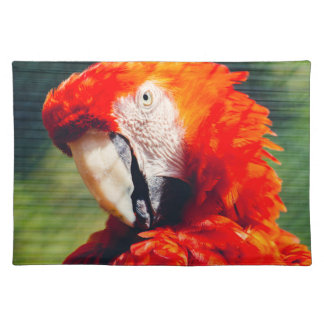 Red Macaw Parrot Portrait, Exotic Bird Place Mats