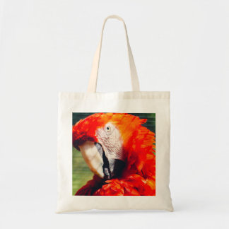 Red Macaw Parrot Portrait, Exotic Bird Tote Bag