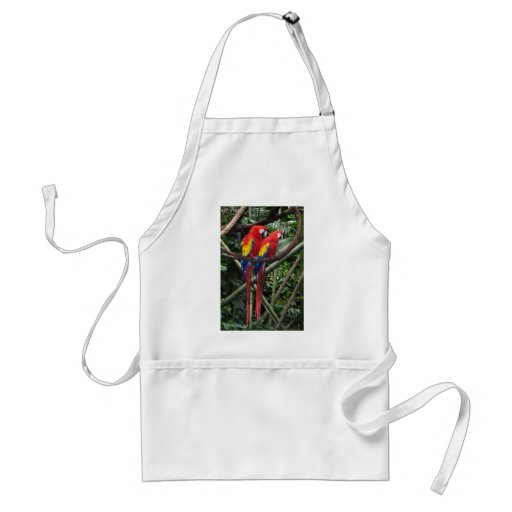 red macaws aprons