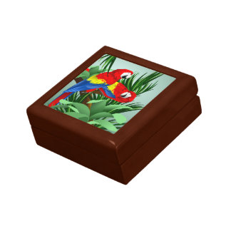 Red Macaws Jewelry Box