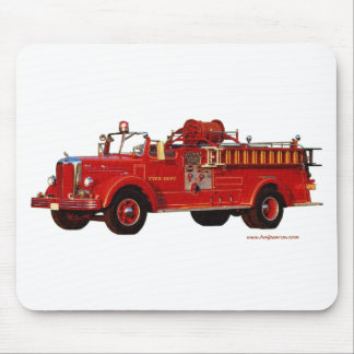 Red_Mack_Fire_truck_Texturized Mouse Pad