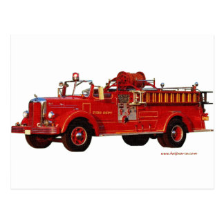 Red_Mack_Fire_truck_Texturized Postales