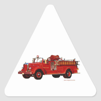 Red_Mack_Fire_truck_Texturized Triangle Sticker