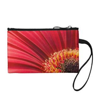 Red Macro Gerbera Daisy Flower Coin Wallet