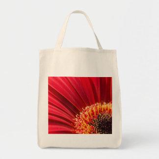 Red Macro Gerbera Daisy Flower Square Tote Bag