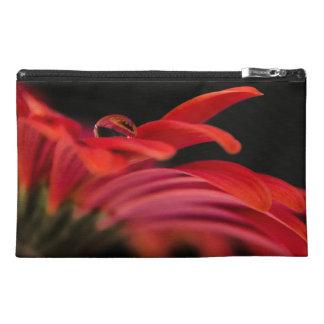 Red Macro Gerbera Flower Travel Accessory Bags