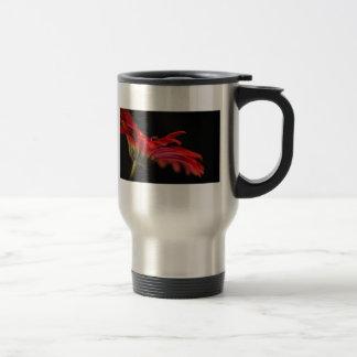 Red Macro Gerbera Flower Travel Coffee Mug