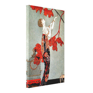 Red Madame Art Deco Canvas Print