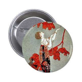 Red Madame Art Deco Design Pin