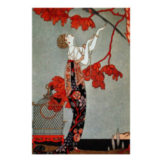 Red Madame Art Deco Design Poster