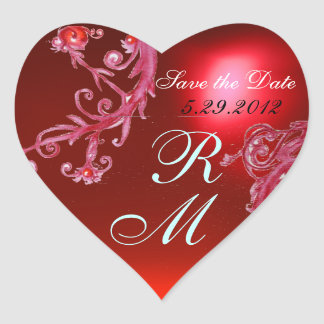 RED MAGIC BERRIES HEART MONOGRAM ,WEDDING PARTY HEART STICKER