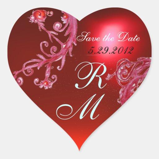 RED MAGIC BERRIES HEART MONOGRAM ,WEDDING PARTY HEART STICKER