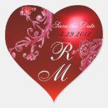 RED MAGIC BERRIES HEART MONOGRAM ,WEDDING PARTY STICKER