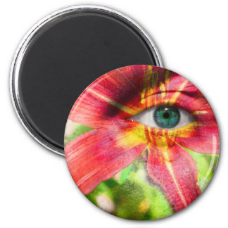 Red Magic Daylily 2 Inch Round Magnet