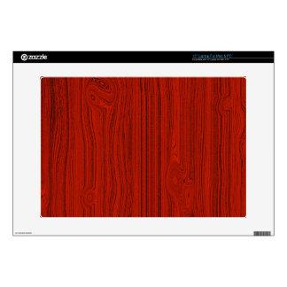 "Red Mahogany Wood Grain Pattern Look 15"" Laptop Skin"