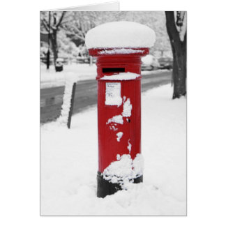 Red Mail Box in Snow Card