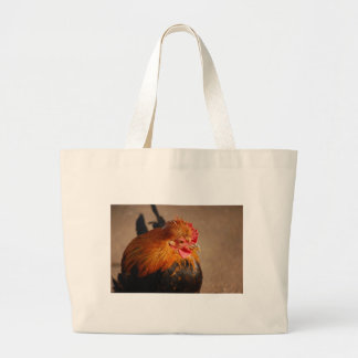 Red-male-chicken1858 ROOSTER FARM ANIMAL BIRD PHOT Large Tote Bag