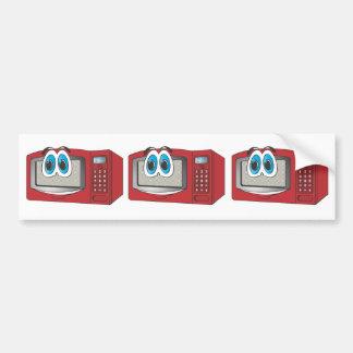 Red Male Microwave Cartoon Bumper Sticker