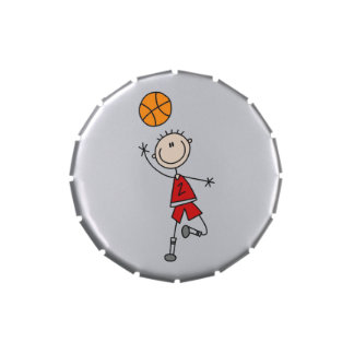 Red Male Stick Figure Basketball Candy Tins