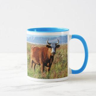 Red Mama Cow in Wildflowers Mug
