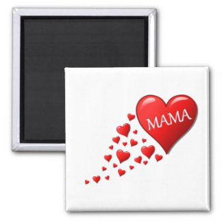 Red Mama Hearts 2 Inch Square Magnet