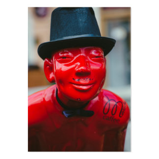 Red man statue with hat large business cards (Pack of 100)