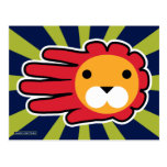 Hand shaped Red Maned Lion Postcard