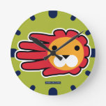 Hand shaped Red Maned Lion Round Clock