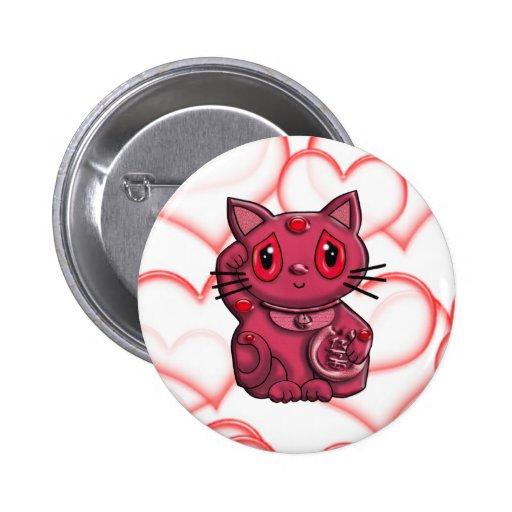 Red Maneki Neko Lucky Beckoning Cat Pin