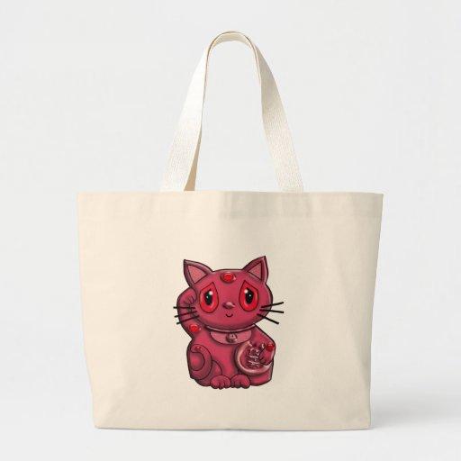 Red Maneki Neko Lucky Beckoning Cat Canvas Bag