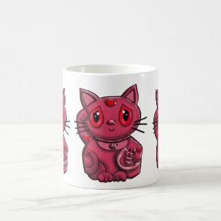 Red Maneki Neko Lucky Beckoning Cat Mug