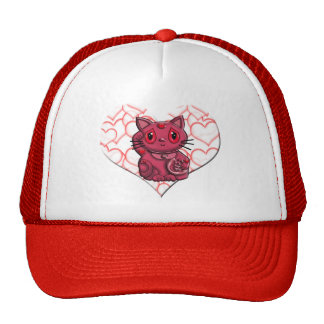Red Maneki Neko Lucky Beckoning Cat Trucker Hat
