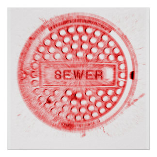 Red Manhole Cover Poster