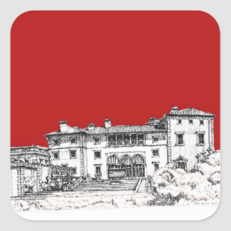 Red mansion building square sticker