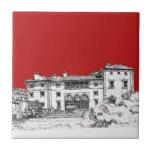 Red mansion building tile