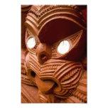 Red Maori Carving Photo Art