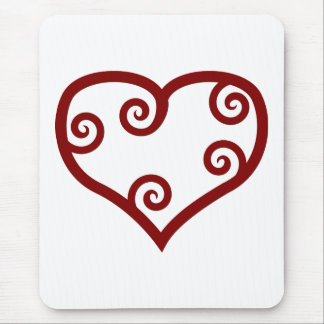 Red Maori Style Valentine's Day Heart Mousepads
