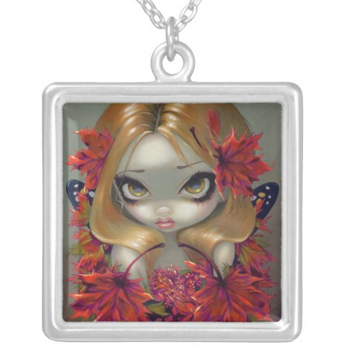 Red Maple Fairy NECKLACE big eye fantasy fall