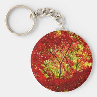 Red Maple Basic Round Button Keychain