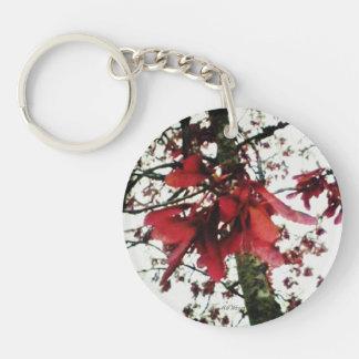 Red Maple Keys Botanical Natural Photo Double-Sided Round Acrylic Keychain